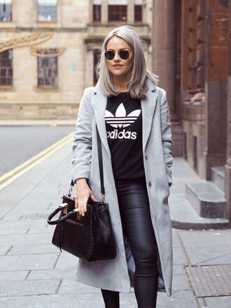 the little magpie blogger grey hair hair dye leather pants black bag adidas grey coat fall outfits