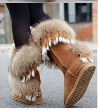 fur boots feathers brown fluffy furry boots