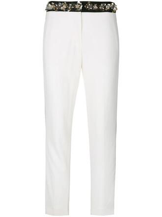 cropped women embellished white pants