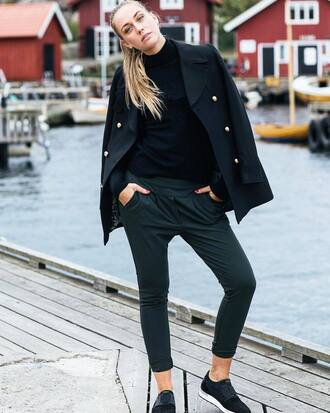 shoes coat ted baker sneakers black sneakers pants black pants black coat top black top turtleneck black turtleneck top