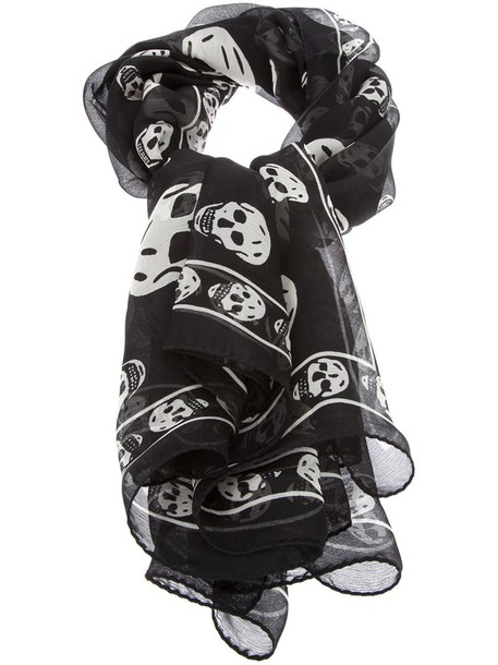 Alexander Mcqueen skull women scarf black silk