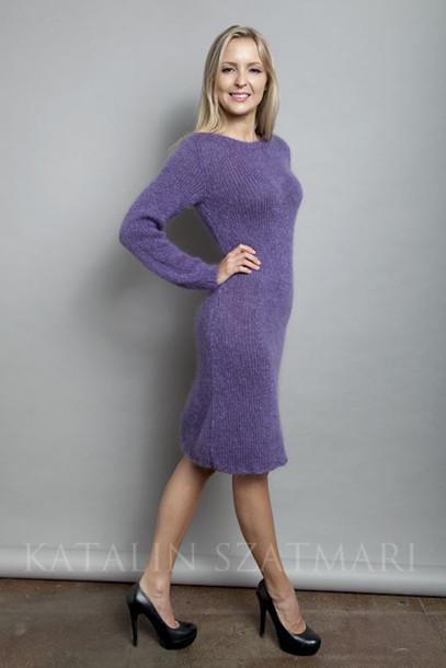 dress bodycon dress mohair dress purple dress body hugging dress fuzzy dress crew-neck dress women's dress knitted dress fitted sleeved dress