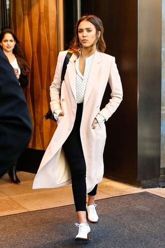 spring outfits jessica alba blouse pink coat polka dots black pants white shoes