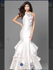 dress,ivory dress,mermaid prom dress,embroidered,beaded