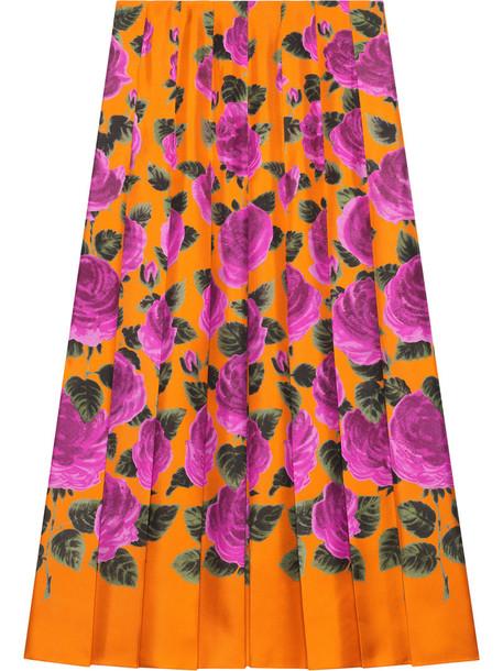 gucci skirt rose women print silk yellow orange