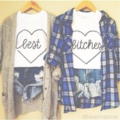 t-shirt,best,friend,fashion,top,tahirt,best bitches,bff,bff shirts,blue shirt,plaid shirt,knitted cardigan,distressed denim shorts,denim shorts,heart,summer shorts,shorts