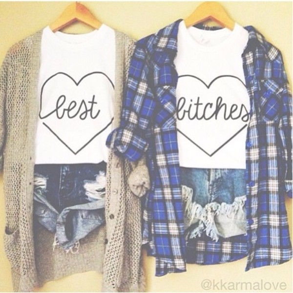 t-shirt best friend fashion top tahirt best bitches bff bff shirts blue shirt plaid shirt knitted cardigan distressed denim shorts denim shorts heart summer shorts shorts