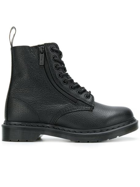 zip women leather black shoes