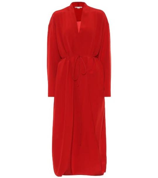 Stella McCartney Silk midi dress in red
