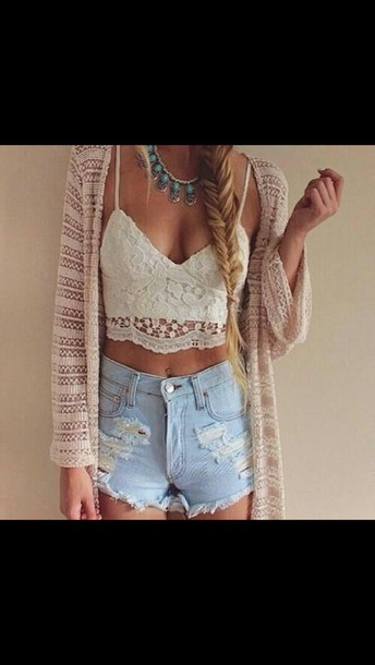 cardigan long sleeve cardigan shorts High waisted shorts top cream lace crop tops boho bohemian bohemian top lace top bohemian crop top coat boho crop top crop tops shirt boho shirt