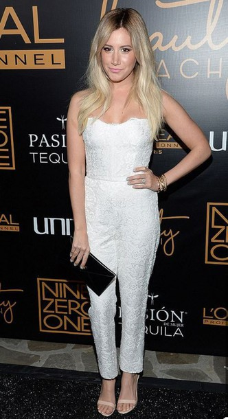 jumpsuit ashley tisdale strapless white lace sandals shoes