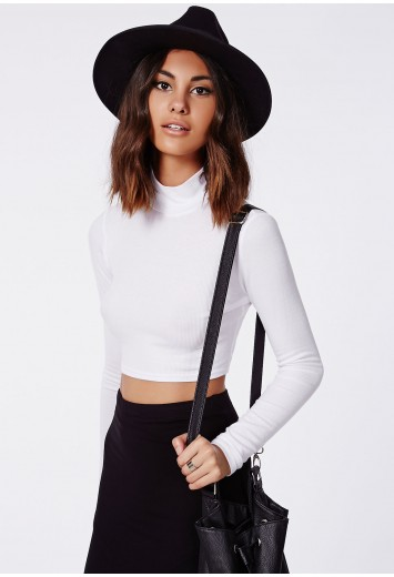 Dharma ribbed turtle neck long sleeve crop top white