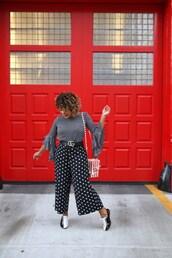 colormecourtney,blogger,shirt,blouse,top,shoes,pants,jacket,bag,belt,pop corn,bell sleeves,wide-leg pants,gucci belt