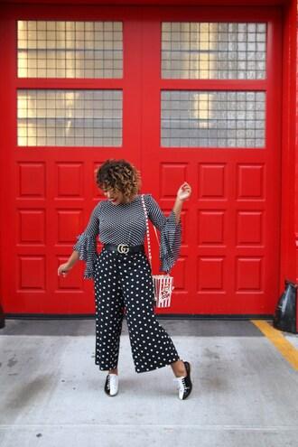 colormecourtney blogger shirt blouse top shoes pants jacket bag belt pop corn bell sleeves wide-leg pants gucci belt