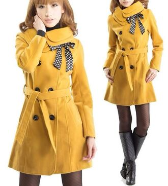 warm winter outfits wool classy long coat fashion love it long coat winter coat yellow yellow coat double breasted button front wool coat fashionable fashionista love it double breasted button front turn down collar fashionista coat