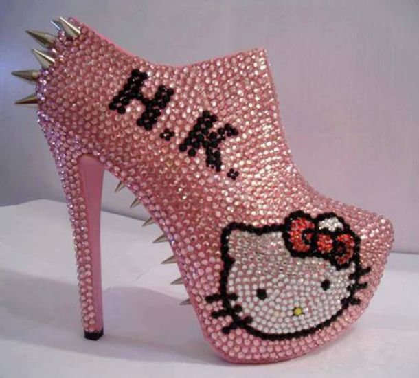 039a7130d Hello Kitty Spiked Rhinestone Ankle Booties 3D Bad Kitty | eBay