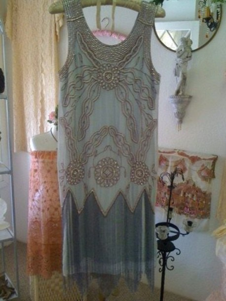 dress 1920 beautiful blue pearl lace party gatsby 1920s