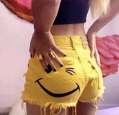 shorts,smiley,yellow,smile,wink,summer,yellow shorts with winky face,short shorts