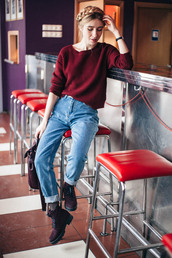 anna pogribnyak,city fashion: my vision,blogger,burgundy sweater,straight jeans