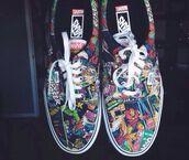 shoes,vans,marvel,marvel superheroes,thor,spiderman,hulk,comics,superheroes,vintage,black,punk,hipster,grunge,rad