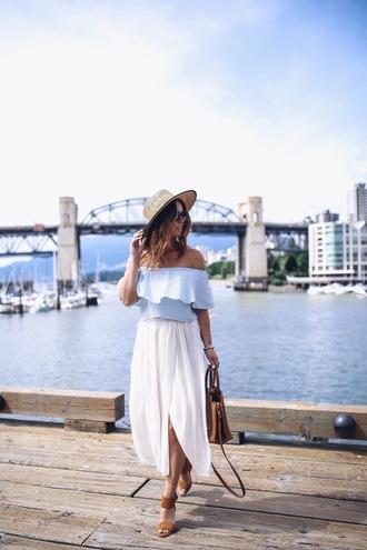 shoes hat tumblr sandals sandal heels high heel sandals skirt maxi skirt white skirt long skirt top off the shoulder off the shoulder top sun hat straw hat