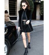 skirt,top,jacket,coat,fall outfits,bella hadid,all black everything,ankle boots,sunglasses,crop tops,celebrity,model off-duty,black crop top,faux fur vest,vest,black vest,black skirt,mini skirt,boots,lace up boots,black boots