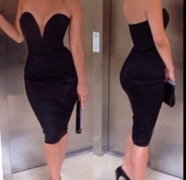 dress little black dress low cut dress black bodycon bodycon dress