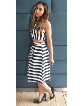 skirt top instagram jade thirlwall little mix summer outfits two piece dress set striped skirt stripes striped top midi skirt
