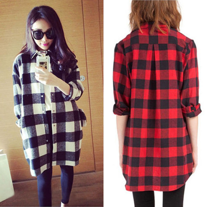 NEW Oversized Women Scottish Plaid Check Tartan Shirt Top Baggy Cardigan 2 Color