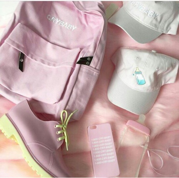 34c21c7a2b bag backpack pink backpack crybaby pastel pink