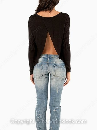 top long sleeves long sleeved top black black top black long sleeve top split back split back shirt