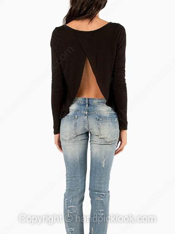 Top Long Sleeves Long Sleeved Top Black Black Top