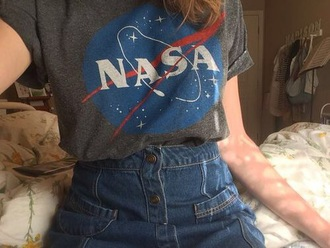 shirt nasa blue grey t-shirt nasa logo tumbler clothes space logo dark tee shirt casual graphic tee teen girl teenagers trendy astrology stars cute summer grey t-shirt grey top grunge girly netflix and chill
