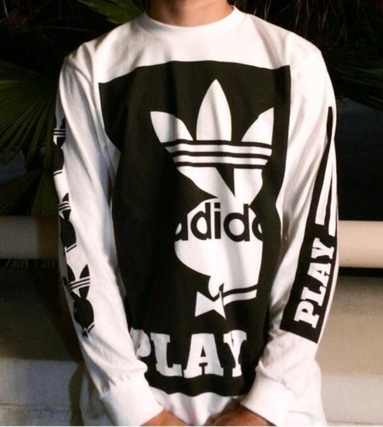 Sweat Black And White Black And White Adidas Playboy Playboy