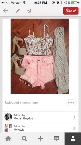shoes flower shirt pink shorts cute high heels cardigan want all