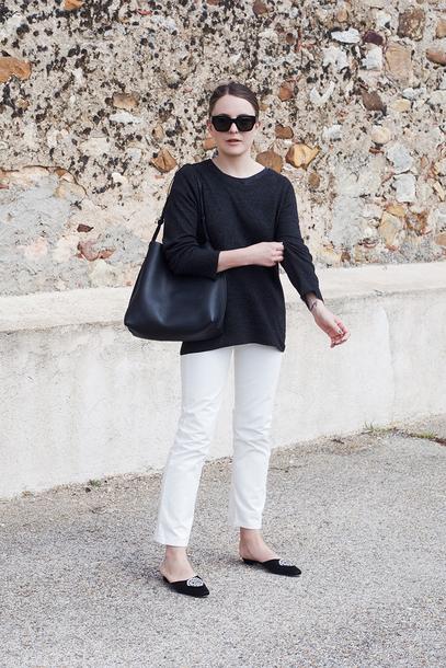 trini blogger sunglasses sweater jeans bag