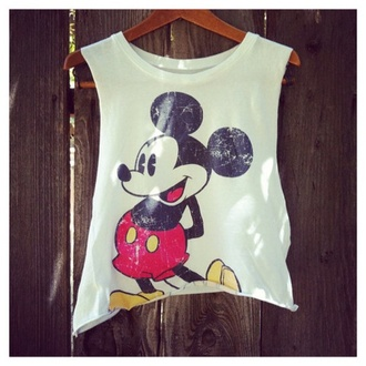 blouse disney black white mickey mouse t-shirt hipster top crop tops grunge