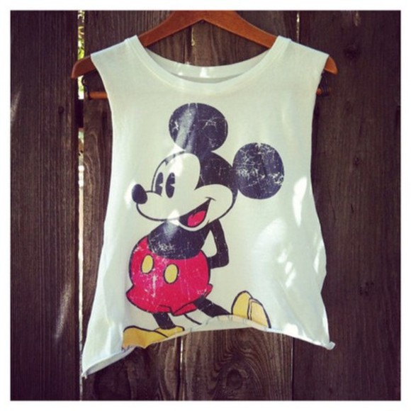 crop tops disney mickey mouse top grunge black blouse white t-shirt hipster