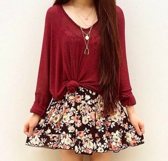skirt sweater red sweater floral floral skirt dress