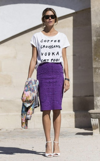 t-shirt white heels white t-shirt slogan t-shirts purple skirt pencil skirt lace skirt lace pencil skirt peep toe heels wayfarer printed jacket