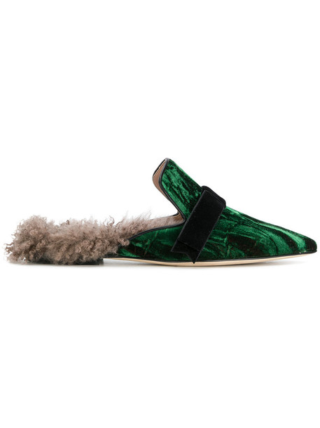 Gianna Meliani women soft slippers leather green shoes