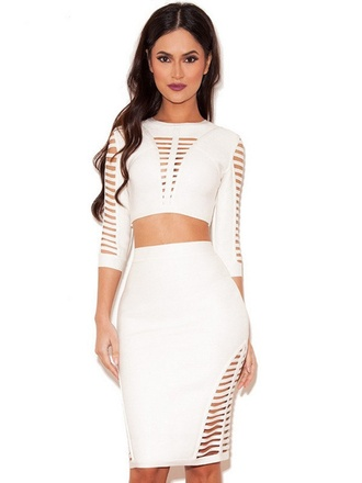 dress thanksgiving dress wots-hot-right-now bandage dress white white dress two-piece sexy celebrity style party dress evening dress cocktail dress clubwear