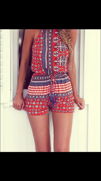 romper boho cute romper red romper teenagers pretty girl dress tribal designs festival tribal romper tribal print dress bohemian bohemian playsuit bohemian romper red pattern romper red playsuit festival red playsuit dress flowers flower white boho romper jumpsuit bright red orange print halter top red and blue romper pattern floral red romper