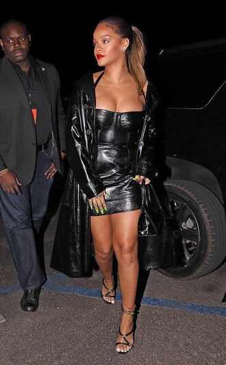 shoes dress black dress bustier dress mini dress bodycon dress rihanna coat leather