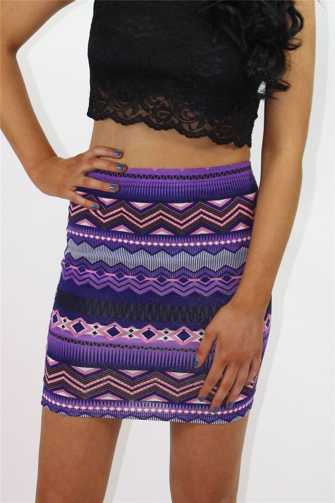 Ladies purple and pink aztec print stretch bodycon skirt