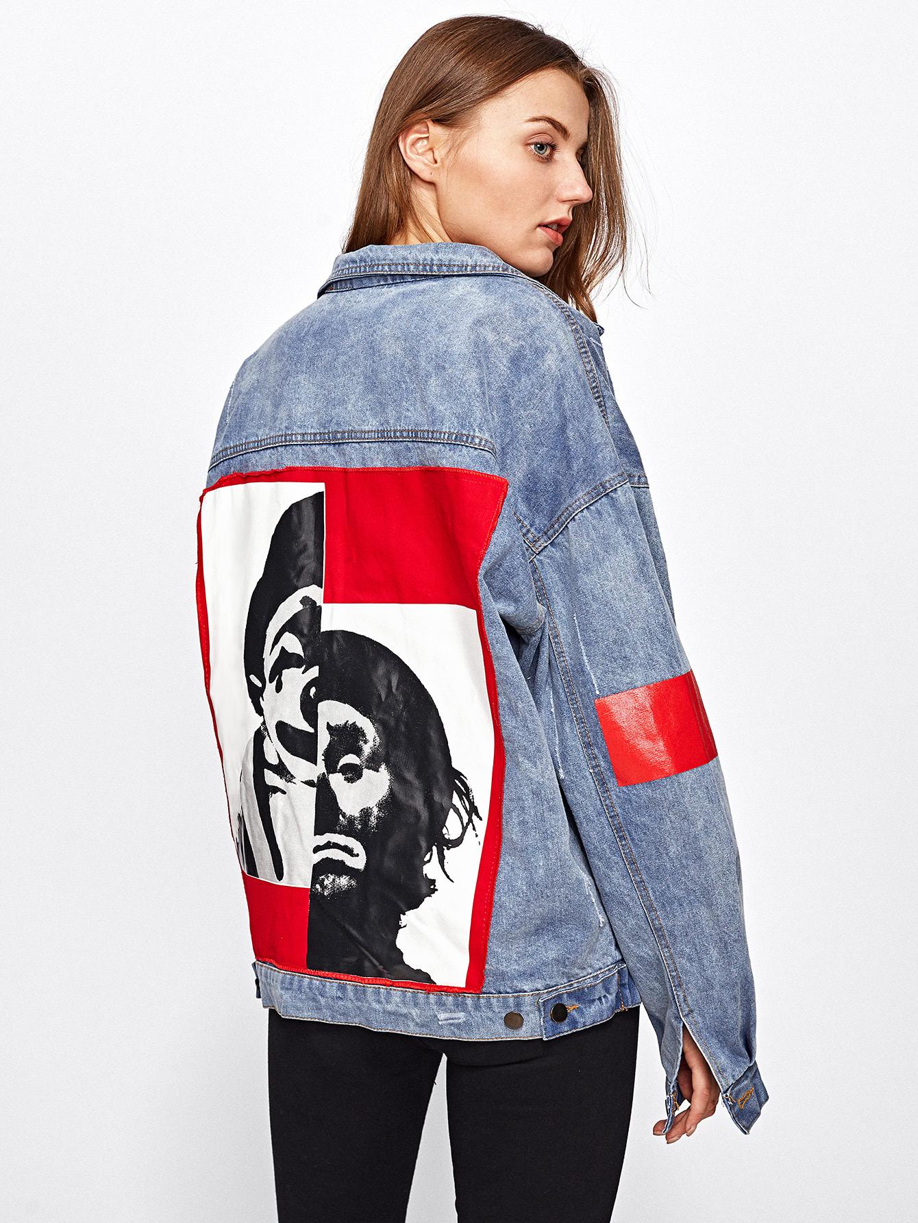 7fd8d8399a Patch Back Letter Print Bleach Wash Denim Jacket -SheIn(Sheinside)