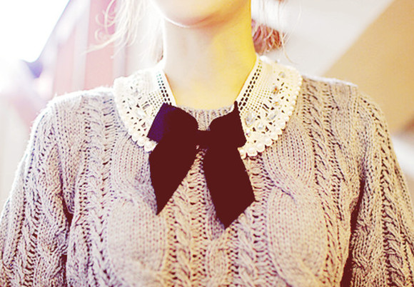 lace bow cute lovely pretty sweater adorable