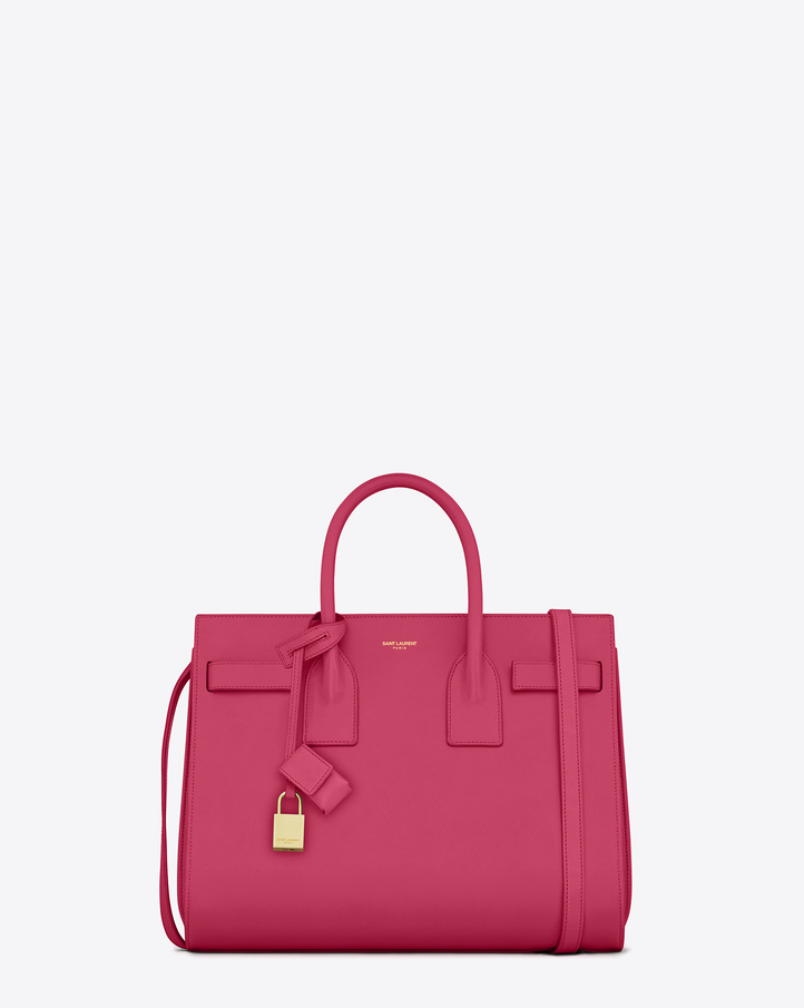 Saint Laurent CLASSIC SMALL SAC DE JOUR BAG In Lipstick Pink Leather | ysl.com