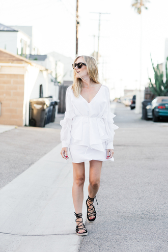 eat sleep wear blogger shoes white dress long sleeves mini dress flats lace up flats summer dress dress ruffle white ruffle dress v neck dress v neck black sunglasses cat eye sandals flat sandals black sandals gladiators