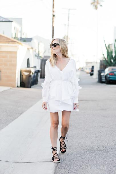 c67337769459 eat sleep wear blogger shoes white dress long sleeves mini dress flats lace  up flats summer